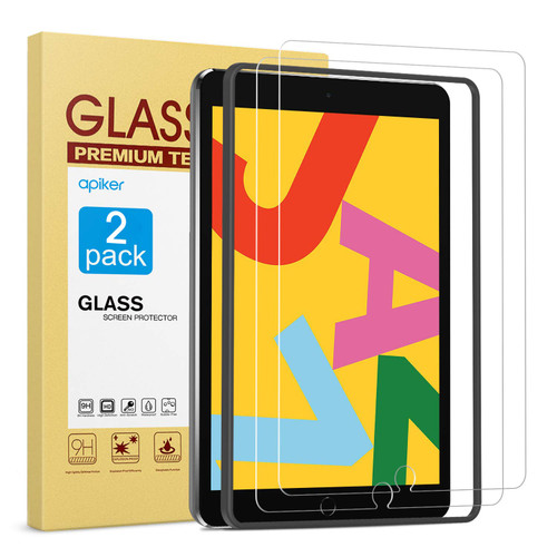[2 Pack] Tempered Glass Screen Protector for iPad 8th 7th Gen 10.2 Inch Compatible with Apple Pencil