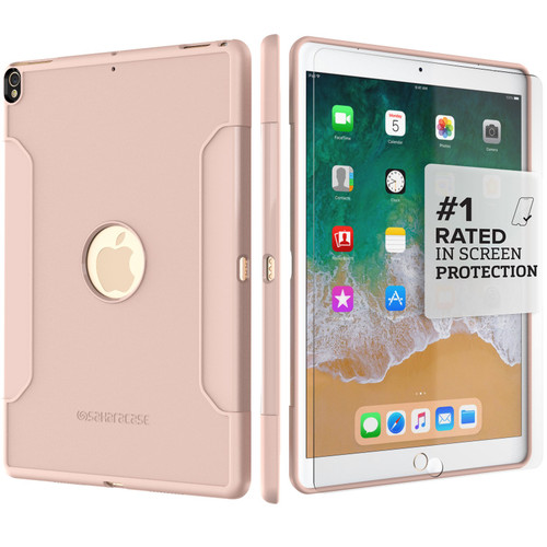 """SaharaCase with Glass Screen Protector for Apple iPad Pro 10.5"""" and iPad Air 10.5"""" Rose Gold"""