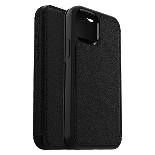OtterBox Strada Series, Premium Leather Folio Case for Apple iPhone 12/12 Pro Black