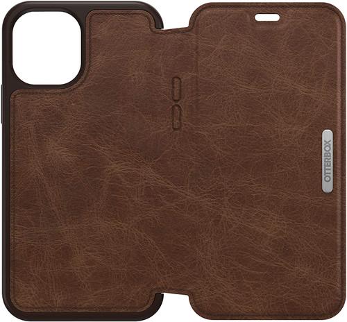 OtterBox Strada Series, Premium Leather Folio Case for Apple iPhone 12/12 Pro Brown