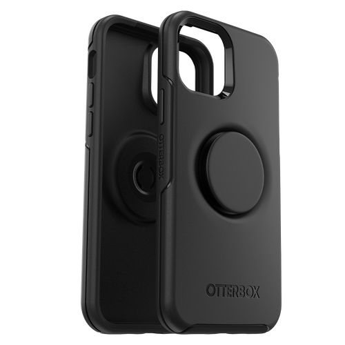 OtterBox - Otter + Pop Symmetry Case with PopGrip for Apple iPhone 12 Black