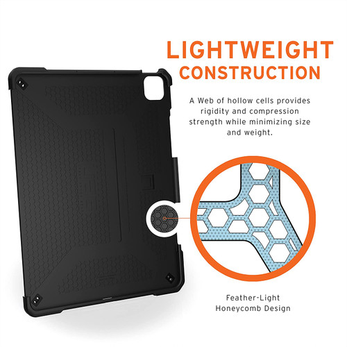 URBAN ARMOR GEAR UAG iPad Pro 12.9-inch (5th Gen, 2021) (A2379, A2461, A2462) Case Metropolis Rugged Heavy Duty Protective Cover Multi-Angle Viewing Folio Stand with Pencil Holder, Black