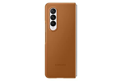 Samsung - Leather Case for Samsung Galaxy Z Fold3 5G Brown EF-VF926LAEGUS
