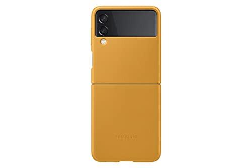 Samsung - Leather Case for Samsung Galaxy Z Flip3 5G Mustard Color EF-VF711LYEGUS