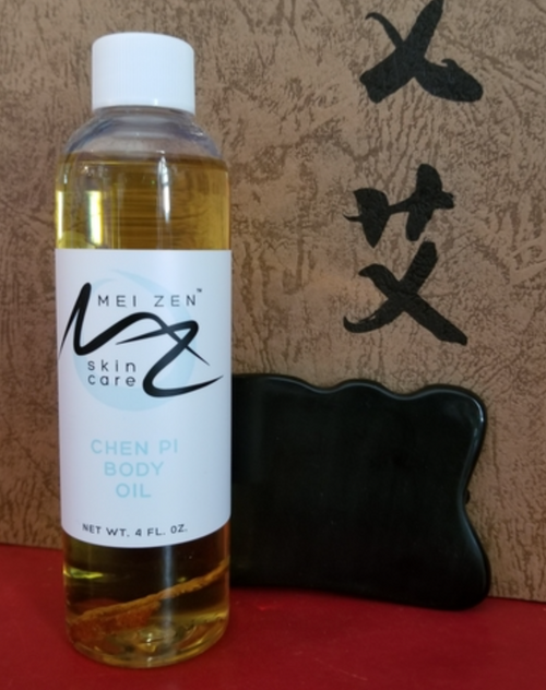 Buy this kit for treating belly fat. Put on the Chen Pi oil twice daily and rub it in with the guasha tool. Do it vigorously and move it toward the groin to stimulate lymph drainage. Just with cupping therapy, bruising may occur.