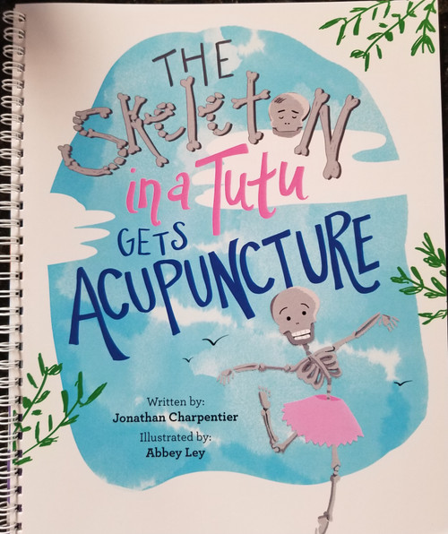 This is a cute little book about The Skeleton in a Tutu hurting herself, needing help, and getting acupuncture. She tells us that it doesn't hurt and makes you feel better! Written by a child who has had acupuncture for children who need healthcare. Signed by the author.   For more information about how telehealth with distant Reiki or acupressure can help your child OR you(!), contact Dr. Martha Lucas, L.Ac. at Acupuncturewoman.com.    You may also find essential oils and blends, body care, skin care, audio recordings, self hypnosis recordings, guided meditations, and herbs like Er Xian Pian on the site.  Dr. Martha, Acupuncture Woman