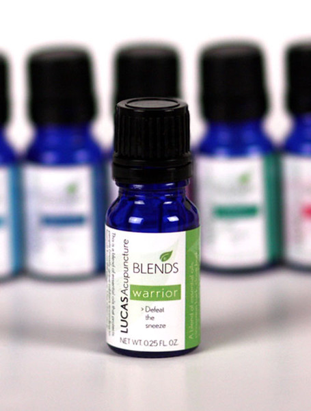 The Warrior essential oil blend is the one to use to help prevent cold and flu. Put a few drops on your face mask before you go out. Use under your nose and on your clavicle when you travel and put in a diffuser at the first sign of a cold.   Cleansing when applied topically Neutralizes and purifies the air from strong odors when diffused Freshens any atmosphere when diffused Among the ingredients that help make it work for you:  * Guizhi/cinnamon bark and ding xiang/clove bud are antibacterial and antimicrobial and can be diffused into the air to protect from viral, bacterial, and fungal infections.  * Tea tree oil and echinacea: can help stop infections and strengthen the immune system.  * An ye/eucalyptus leaf essential oil: used to aid respiration.  * Black pine: brings a Yin presence to the blend plus iIt helps fight infections, reduce inflammation, and relieve respiratory tension.    All in a jojoba base so you can put the blend on the skin or on jewelry designed for use with essential oils.   To Use: Simply put 2 or 3 drops under the nose and around the neck, the navel, and soles of the feet. Particularly useful in contagious environments such as on airplanes, public transpiration, crowded areas, etc.