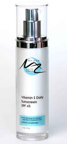 Vitamin E Daily Sunscreen is a lightweight, oil free, SPF 45 sunscreen. We use an innovative blend of actives and botanicals like knotweed extract, to protect skin from factors known to cause premature aging. This product provides the highest possible level of protection while restoring youthfulness, firmness, and elasticity to the skin. It contains a high level of vitamin B3 (niacinamide) which reduces redness and blotchiness.  What it is: Vitamin E Daily Sunscreen SPF 45 is a lightweight, oil free, SPF 45 sunscreen.  What it does: protects skin from factors known to cause premature aging. This product provides the highest possible level of protection while restoring youthfulness, firmness, and elasticity to the skin. It contains a high level of vitamin B3 (niacinamide) which reduces redness and blotchiness.   What it is formulated WITHOUT: Parabens Phthalates Endangered plants or minerals Gluten   What else you need to know: Apply to face and neck, avoiding the eye area. Wait at least 30 minutes before sun exposure. Reapply after 80 minutes of swimming or sweating. Reapply immediately after towel drying at least every 2 hours. Lab tested for consistency and shelf life.
