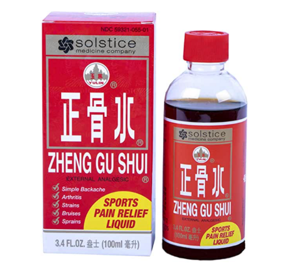 Great for warming pain relief, Zheng Gu Shui may be used to relieve:  + aches and pains in muscles and joints  + arthritis and rheumatism pain  + backache  + strains and sprains  + bruises  To use:put this liquid on a cotton ball and put on the area where hte pain is. May be used 3 to 4 times daily but should not be used on irritated or damaged skin. For EXTERNAL use only.