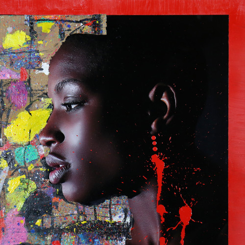 Mixed Media Photography and Acrylic Painting by Giorgio Guglielmini & Natino Chirico. Self Portrait.