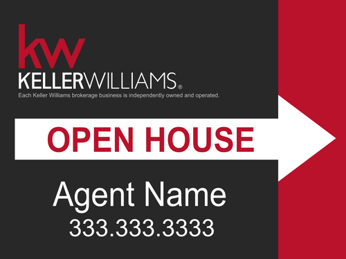 KW Open House Sign Black/Red 24''W x 18''H