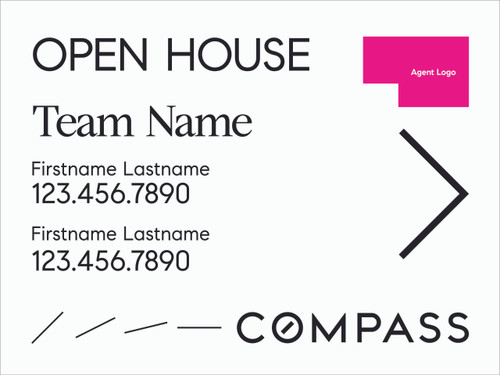 #006. Compass 24''W x 18''H Directional Sign - Team Name & Two Agents - White
