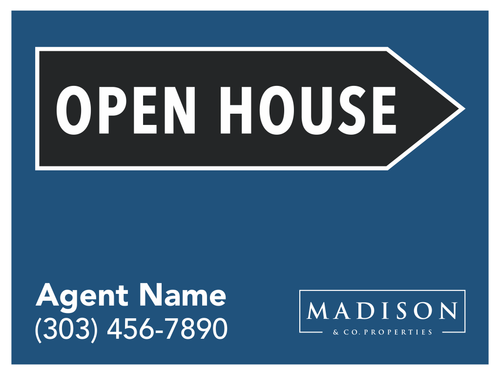 #003 Madison & Co Open House Sign Blue  24''W x 18''H