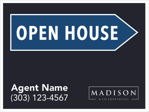 Madison & Co Open House Sign Black  24''W x 18''H