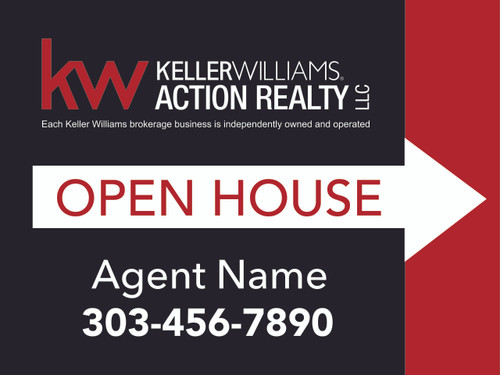 2. KW Action Realty Open House Sign W/ Agent Name & Number 24''W x 18''H