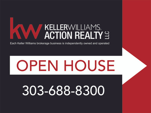 1. KW Action Realty Open House Sign W/ Office Number 24''W x 18''H