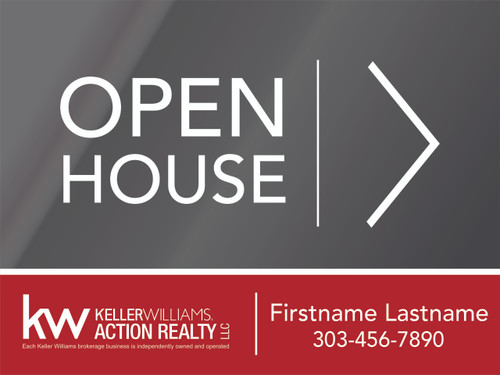4. KW Action Realty Open House Sign W/ Agent Name & Number 24''W x 18''H
