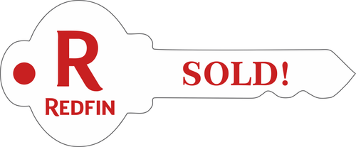 """#R6 - Redfin Key Shaped """"SOLD! Sign, 24''W x9''H - White"""