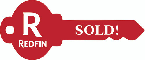 """#R5 - Redfin Key Shaped """"SOLD! Sign, 24''W x9''H - Red"""