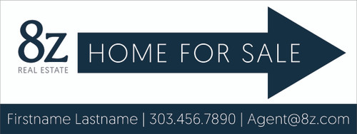 #A1. 8Z Home For Sale Directional Sign 24''W x 9''H White Background