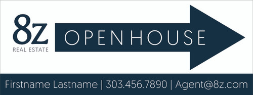#A3. 8Z Open House Directional Sign 24''W x 9''H White Background