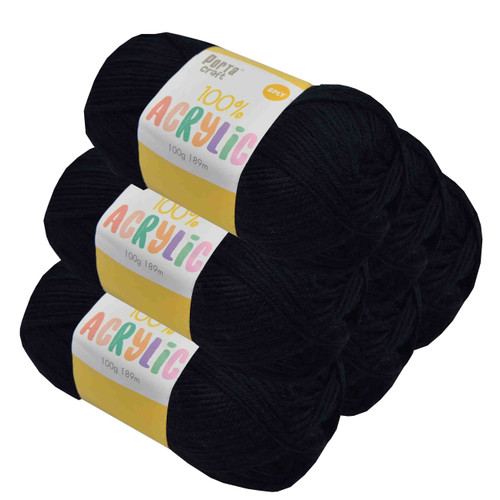 Acrylic Yarn 100g 189m 8ply Jet Black (Product # 093092)