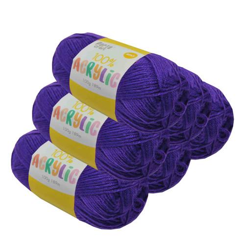 Acrylic Yarn 100g 189m 8ply Violet (Product # 093221)
