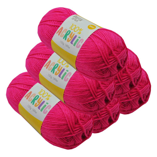Acrylic Yarn 100g 189m 8ply Hot Pink (Product # 093283)