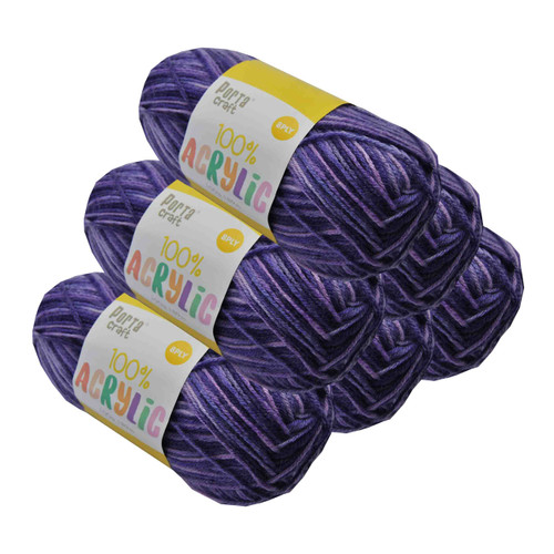 Acrylic Yarn 100g 189m 8ply Purple Popper (Product # 122693)