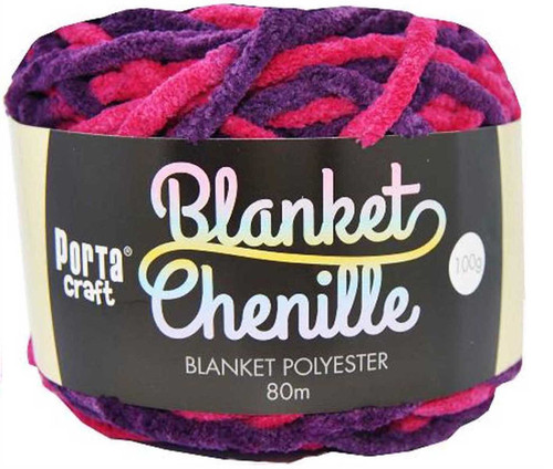 Chenille Blanket Yarn 100g 80m 12ply Magenta (Product # 151242)