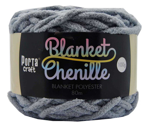 Chenille Blanket Yarn 100g 80m 12ply Grey (Product # 151372)
