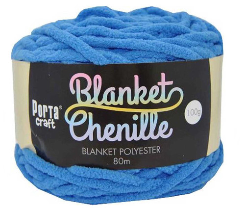 Chenille Blanket Yarn 100g 80m 12ply Bright Blue (Product # 151433)