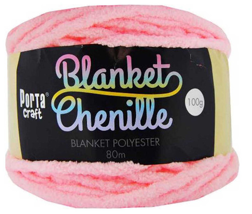 Chenille Blanket Yarn 100g 80m 12ply Baby Pink (Product # 151495)