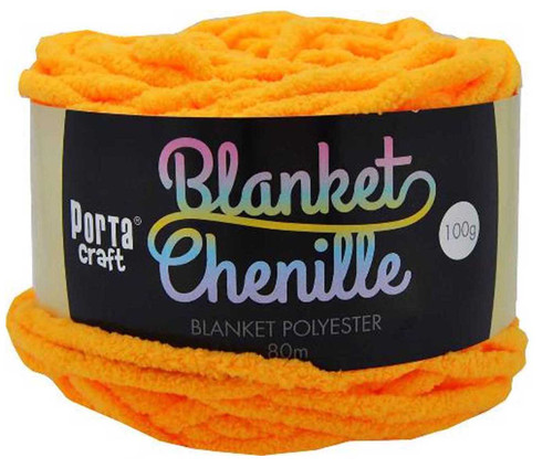 Chenille Blanket Yarn 100g 80m 12ply Orange (Product # 151501)