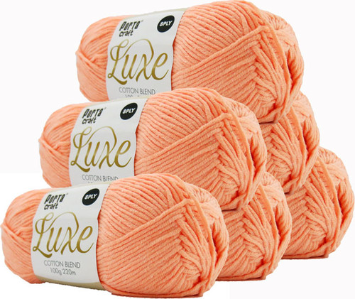 Luxe Cotton Blend Yarn 100g 220m 8ply Apricot (Product # 163306)