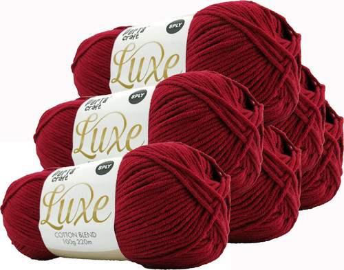 Luxe Cotton Blend Yarn 100g 220m 8ply Ruby (Product # 163436)