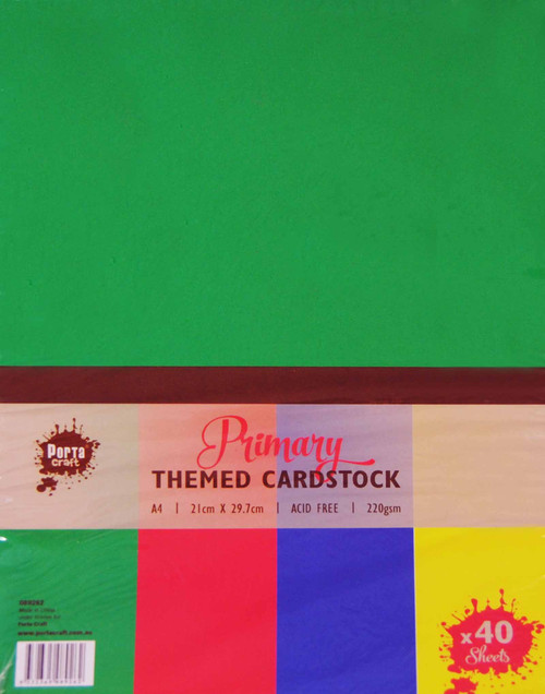 Colour Block (Assorted) A4 220gsm 40pk Primary (Product # 089262)