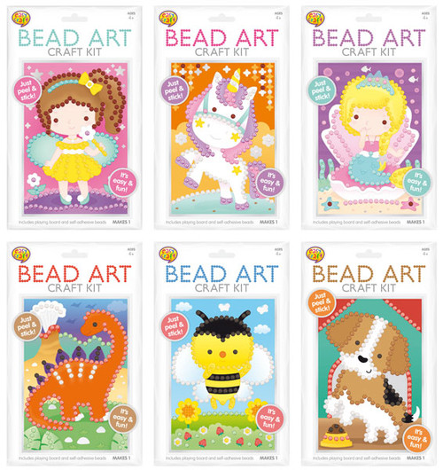 Bead Art Craft Kit 6 Assorted (Random Picked) Designs (Product # 149669)