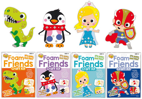 Foam Friends Craft Kit 4 Assorted (Random Picked) Designs (Product # CR0246)