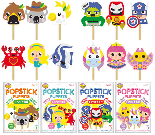Lollipop Puppet Craft Kit 4 Assorted (Random Picked) Designs (Product # 128572)