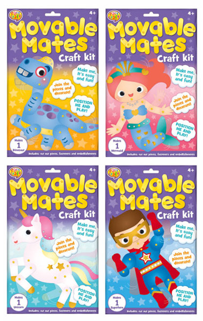 Movable Mates Paper Craft Kit 4 Assorted (Random Picked) Designs (Product # CR0276)