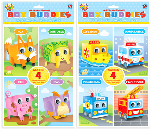 Box Buddies Paper Craft Kit 2 Assorted (Random Picked) Designs (Product # CR0349)