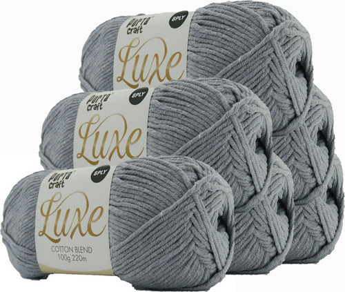 Luxe Cotton Blend Yarn 100g 220m 8ply Overcast (Product # 163351)