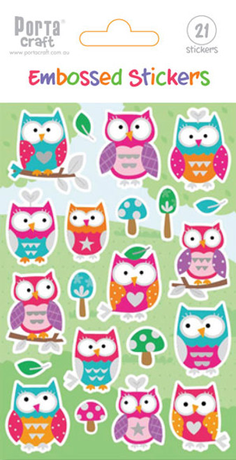 Sticker Sheet Embossed Owls (Product # 137239)