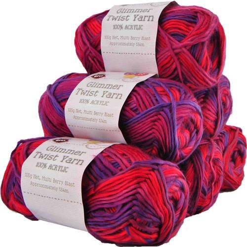 Glimmer Twist Yarn 100g 134m Berry Blast (Product # 142233)