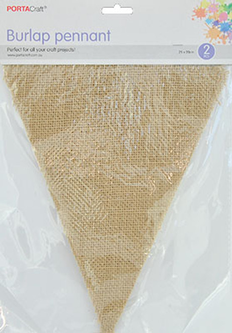 Burlap Pennants 200x250mm 2pk Triangle (Product # 138342)