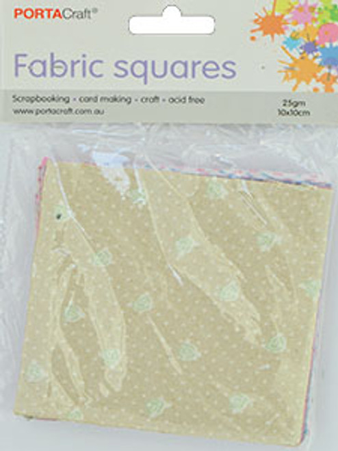 Fabric Squares 100x100mm 30pk 5 Designs (Product # 125021)
