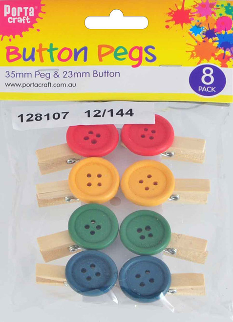 Clothes Pegs  35mm & 23mm Natural 8 Pack (Product # 128107)