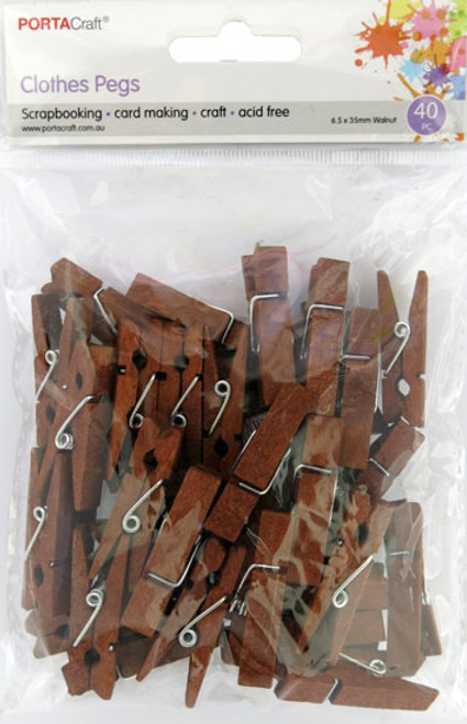 Clothes Pegs  35x6.5mm Walnut 40 Pack (Product # 164396)