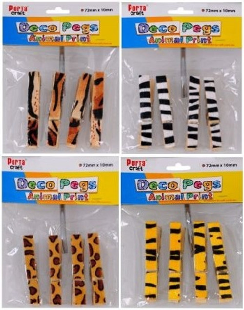 Clothes Pegs 72x10mm Animal Print 4 Pack (Random) (Product # 122068)